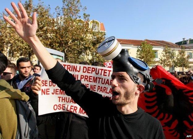 A protester in Tirana, Albania, 14 November