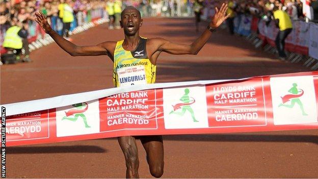 Kenyan Loitarakwai Lengurisi won this year's Cardiff Half Marathon