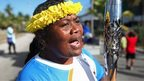 The baton was welcomed to the island of Nauru with a large street party