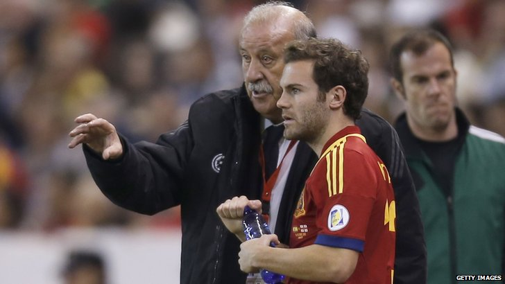 Vicente del Bosque and Juan Mata