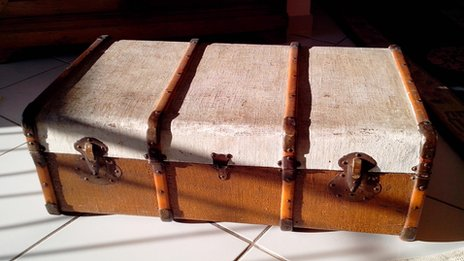 A trunk/suitcase, white on top and brown underneath
