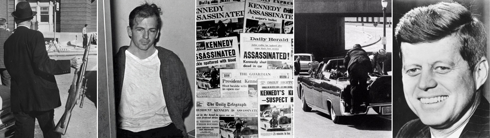 Man holding gun; Lee Harvey Oswald; newspapers announcing Kennedy's death; JFK's Lincoln moments after the shooting; JFK