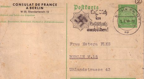 An old postcard from the French Consulate in Berlin with a swastika on it