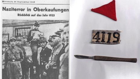 A German newspaper featuring Howard Cohn's father, August Cohn; His father's concentration camp number, a scalpel from the typhus barracks, and a handkerchief of a close friend who died