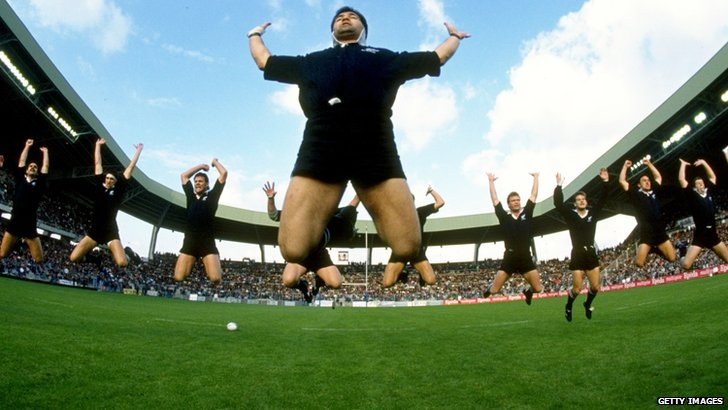 "New Zealand perform the ""haka"""