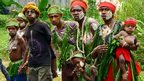 Supporters waiting for the baton to arrive in Papua New Guinea's New Ireland province