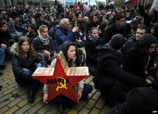 Protesters in Sofia, 15 November