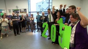 Supporters of Bristol's bid for European Green Capital for 2015 status celebrate after hearing the city has won