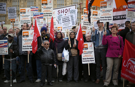 Protest outside parliament in 2012 after announcement of Remploy closures