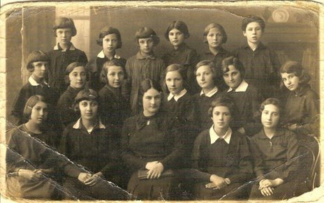 An old photo of a class of schoolgirls in Lithuania