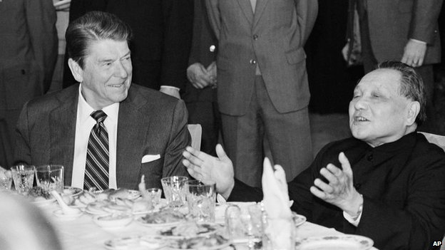 Ronald Reagan and Chinese leader Deng Xiaoping eat lunch together, Saturday, April 28, 1984
