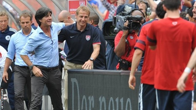Current Germany coach and former assistant to Jurgen Klinsmann, Joachim Low (left) and Klinsmann (right)