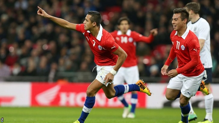 Alexis Sanchez celebrates scoring for Chile