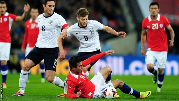 Adam Lallana in action against Chile