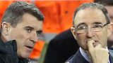 Assistant Roy Keane talks to Republic of Ireland manager Martin O'Neill