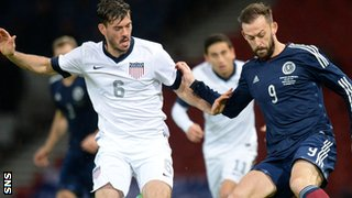USA's Brad Evans and Scotland's Steven Fletcher