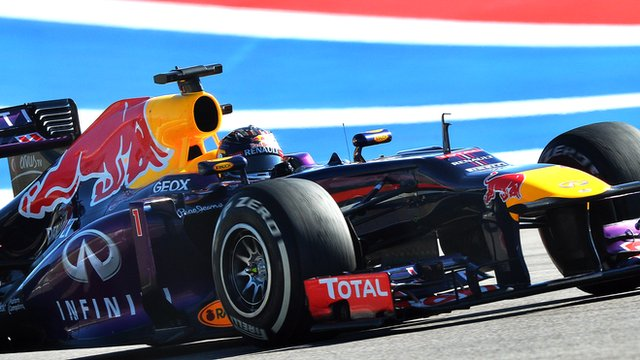 Sebastian Vettel leads Mark Webber to a Red Bull one-two in second practice at the United States Grand Prix.