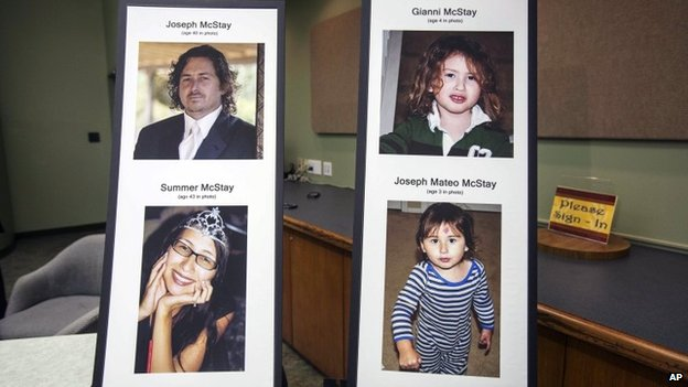 Photo display of McStay family at a press conference at the San Bernardino County Sheriff's Department headquarters in San Bernadino, California 15 November 2013