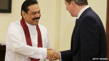 Sri Lanka's President Rajapaksa and David Cameron