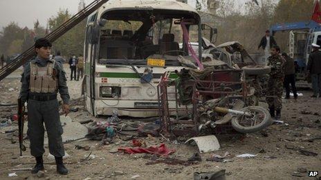 Scene of bomb blast, Kabul, 16 November 2013