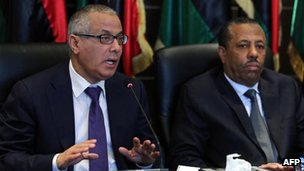 Ali Zeidan (L) in Tripoli press conference, 16 November