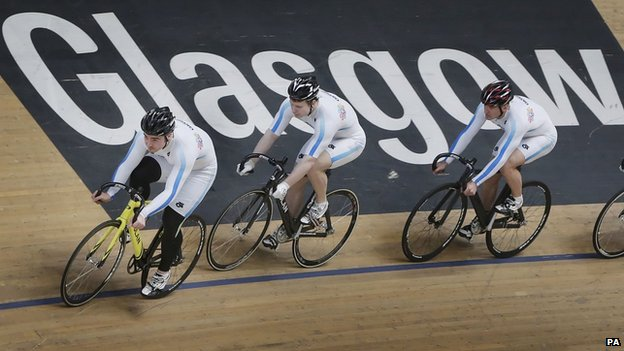 Cyclists at the Chris Hoy velodrome
