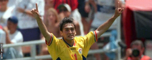 Ilie Dumitrescu scored twice as Romania shocked Argentina in the second round at USA '94