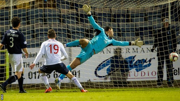Luke Leahy scores a late equaliser for Falkirk
