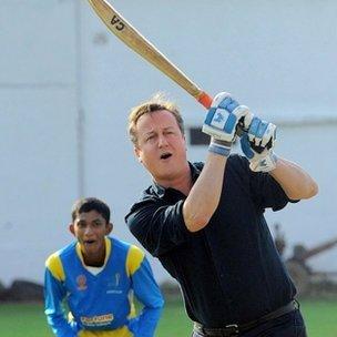David Cameron playing cricket in Sri Lanka