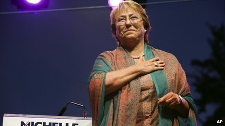 Chilean presidential candidate Michelle Bachelet, 14 November 2013