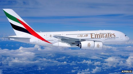 Emirates Airbus A380 in flight