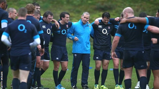 England coach Stuart Lancaster leads his players through training