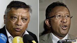 Election candidates Robinson Jean Louis (left) and  Hery Rajaonarimampianina