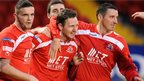 Portadown celebrate after Gary Twigg's goal sealed their 2-0 win over Warrenpoint Town at Shamrock Park