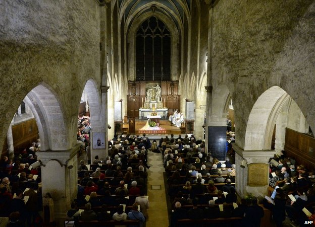 Prayer vigil in St Jean Baptiste de Sceaux parish church, south of Paris, 14 November