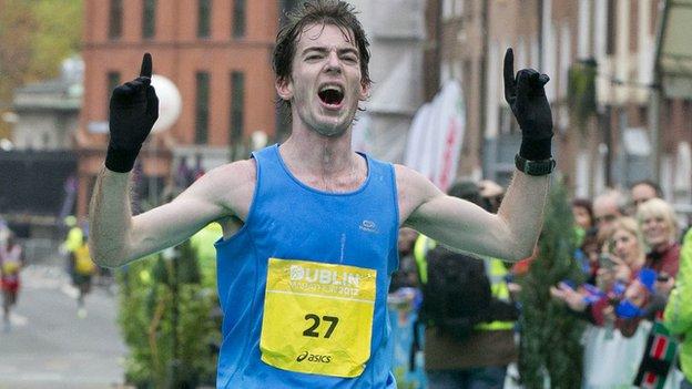 Paul Pollock finishing the Dublin Marathon in 2012