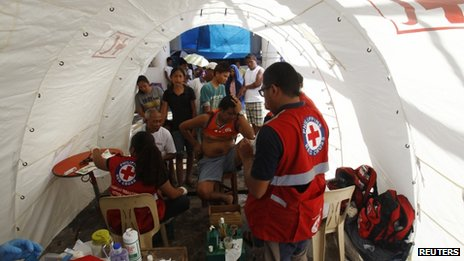 A treatment tent set up by the Philippines Red Cross