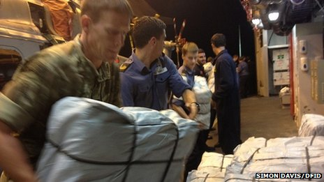 Aid packages being loaded onto HMS Daring