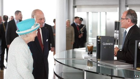 Queen Elizabeth II and the Duke of Edinburgh at the Guinness Storehouse, Dublin.
