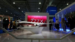 A model of the Boeing 777-9X is displayed during the Dubai Airshow