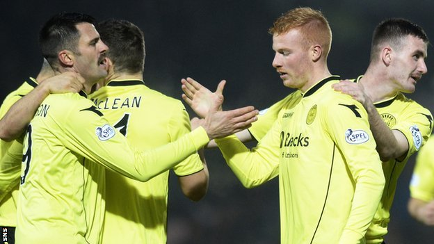 St Mirren celebrate Conor Newton's goal