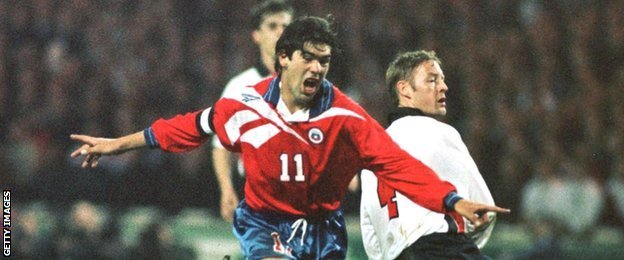 Marcelo Salas celebrates scoring against England at Wembley in February 1998