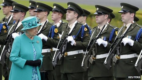 Queen Elizabeth inspects a Guard of Honour at the residence of the Irish President in Dublin.