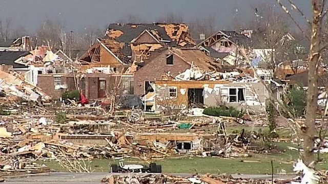 Tornado devastation in Illinois