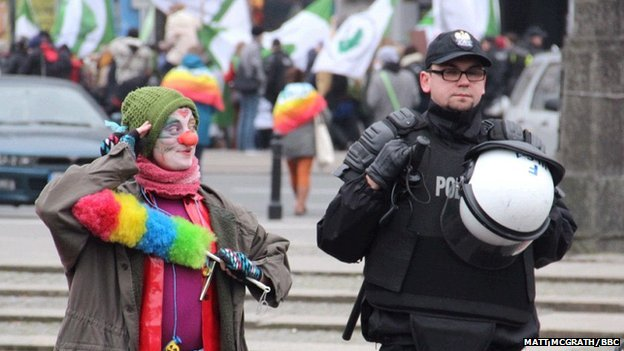 Protesters and police in Krakow