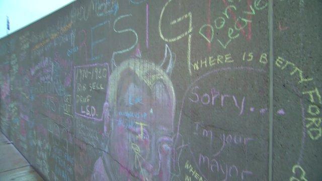 Graffiti wall outside Toronto city hall