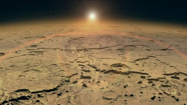 Sunrise over Mars surface