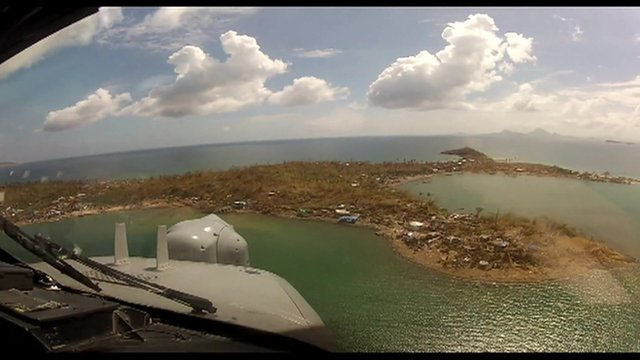 View of island from helicopter