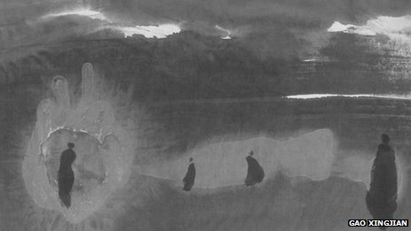 File photo: part of Gao Xingjian's artwork Ballade Nocturne, ink on paper, 2007