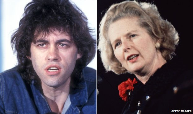 Bob Geldof and Margaret Thatcher